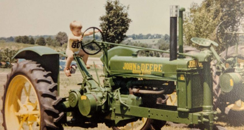 Bobby Bonds Jr. on his great grandfather's tractor. Photo: Courtesy Bobby Bonds, Jr.