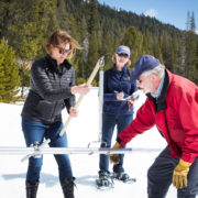 Karla Nemeth, Director of the California Department of Water Resources, left, Cindy Messer, Chief Deputy Director (DWR), center, assists Frank Gehrke, Chief of the California Cooperative Snow Surveys Program, with the fourth snow survey of 2018 at Phillips Station in the Sierra Nevada Mountains. The survey site is approximately 90 miles east of Sacramento off Highway 50 in El Dorado County. Photo: Dale Kolke / California Department of Water Resources