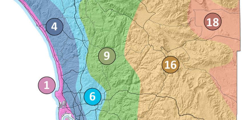 San Diego County's six climate zone according to CIMIS