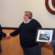 Don Billings receives the 'H2O Champion' Water Legacy Award from SDCWA Chairman Mark Muir and Vice Chairman Jim Madaffer. Photo: Water Authority