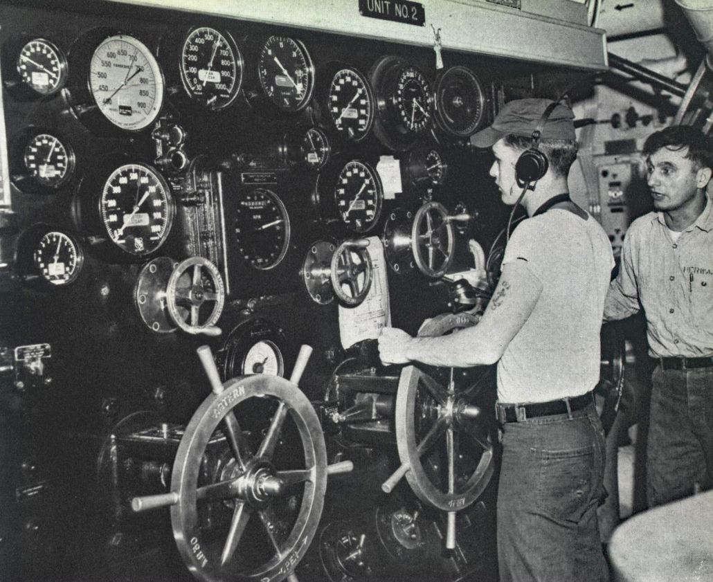 Four steam throttle boards such as this were the gas pedals aboard Midway. Sailors here in 1958 fed the proper amount of steam into the four turbines necessary for propulsion and a top reported speed of 30 knots per hour. That's 34 miles an hour for the 65,000-ton aircraft carrier when active—fast enough to water ski behind Midway. Photo: Courtesy USS Midway Museum