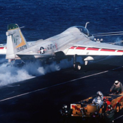 Fresh water aboard Midway was critical to building up enough fresh-water steam to accelerate this A-6E Intruder from 0 to approximately 150 miles per hour in only three seconds. Photo: USS Midway Museum