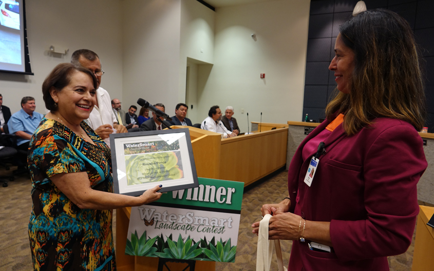 Rosalba Ponce from Chula Vista receives recognition at the July 11 board meeting of the Otay Water District as its 2018 landscaping contest winner. Photo: Courtesy Otay Water District Landscape Makeover