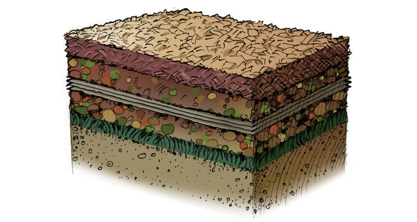 "Create a healthy growing environment for your new landscaping with the ""soil lasagna"" method. Graphic: Water Authority"