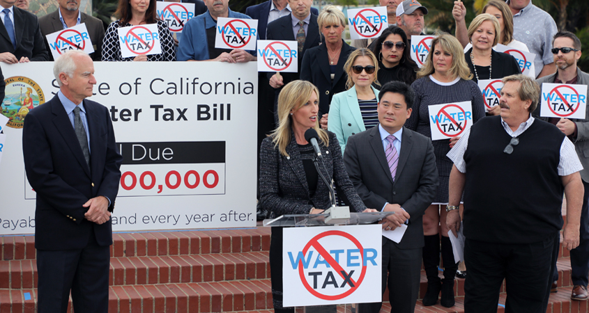 Supervisor Kristin Gaspar, chairwoman of the San Diego County Board of Supervisors, officials from the San Diego County Water Authority and several of its member agencies, the San Diego County Taxpayers Association, the Industrial Environmental Association, and more than 30 agencies and organizations have voiced strong opposition to any effort by state legislators to impose a drinking water tax.