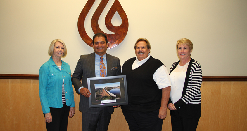 Water Authority General Manager Maureen Stapleton, State Sen. Ben Hueso, Water Authority Board Chair Mark Muir, and Christy Guerin, chair of the Water Authority's Legislation and Public Outreach Committee (left to right). Photo: Water Authority