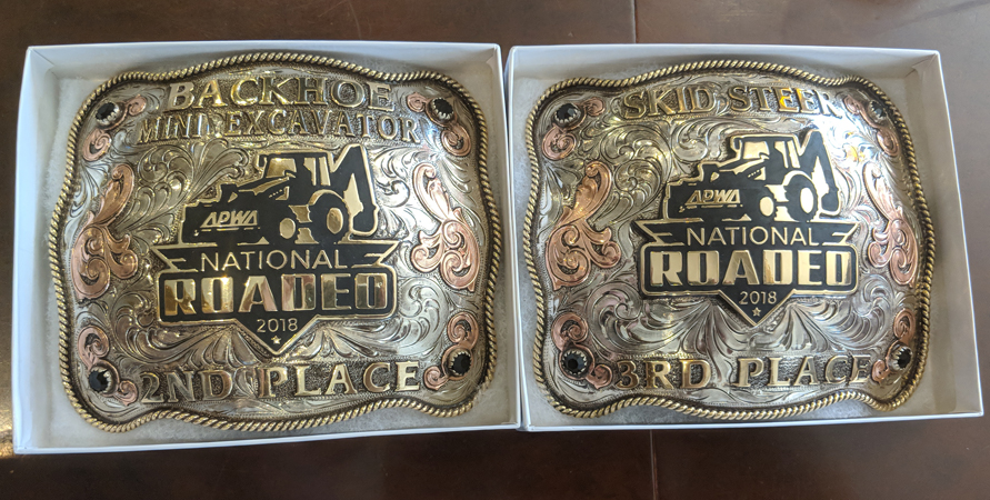 Winners received engraved belt buckles as prizes. Photo: Courtesy Bobby Bond Jr. National Skills Roadeo