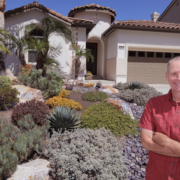 Jeff Moore stands in his front yard featuring his award-winning waterwise landscaping work. Photo: Charlie Neuman, Water Authority Vallecitos