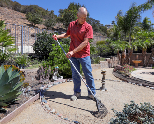 Homeowner Jeff Moore's back yard zen garden featuring his landscape work fit beautifully into his area's climate zone. Photo: Water Authority climate zone