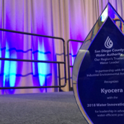 The San Diego County Water Authority presented its inaugural Water Innovation & Efficiency Award to Kyocera. Photo: Water Authority