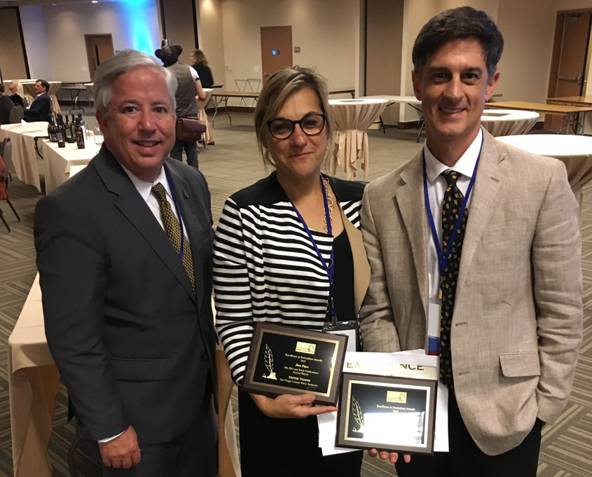 (L to R) Dennis Cushman, Assistant General Manager; Denise Vedder, Public Outreach and Conservation Director; and Mike Lee, Public Outreach and Conservation, accept their San Diego Press Club Journalism Awards. Photo: Water Authority