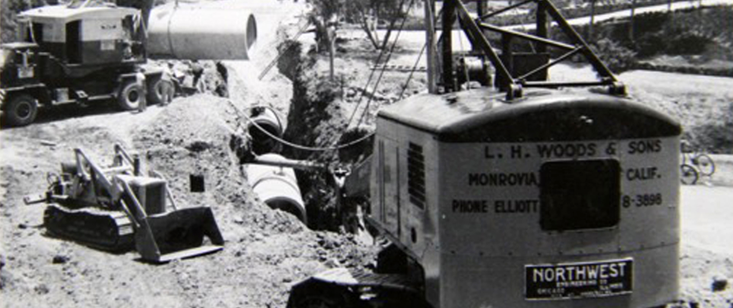 L.H. Woods working on one of its first projects for the Water Authority in 1960. Photo: Courtesy L.H. Woods
