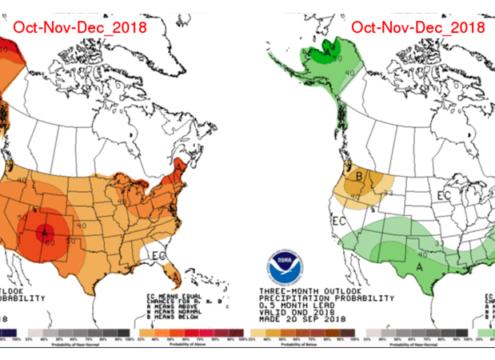 NOAA's three month weather outlook predicting the amount of rainfall across the U.S. Map: NOAA.gov