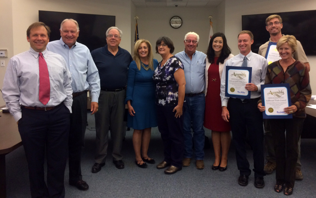 Assemblymember Marie Waldron presented the district's board of directors with a certificate of recognition for successfully preserving the land. She also presented the Wildlands Conservancy and the Fallbrook Trails council with certificates. Photo: FPUD