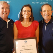 Kelsey Ceccarelli (center), the Citizens Water Academy's 500th graduate, with Water Authority Assistant General Manager Dennis A. Cushman (left) and Board Chair Jim Madaffer (right). Photo: Water Authority