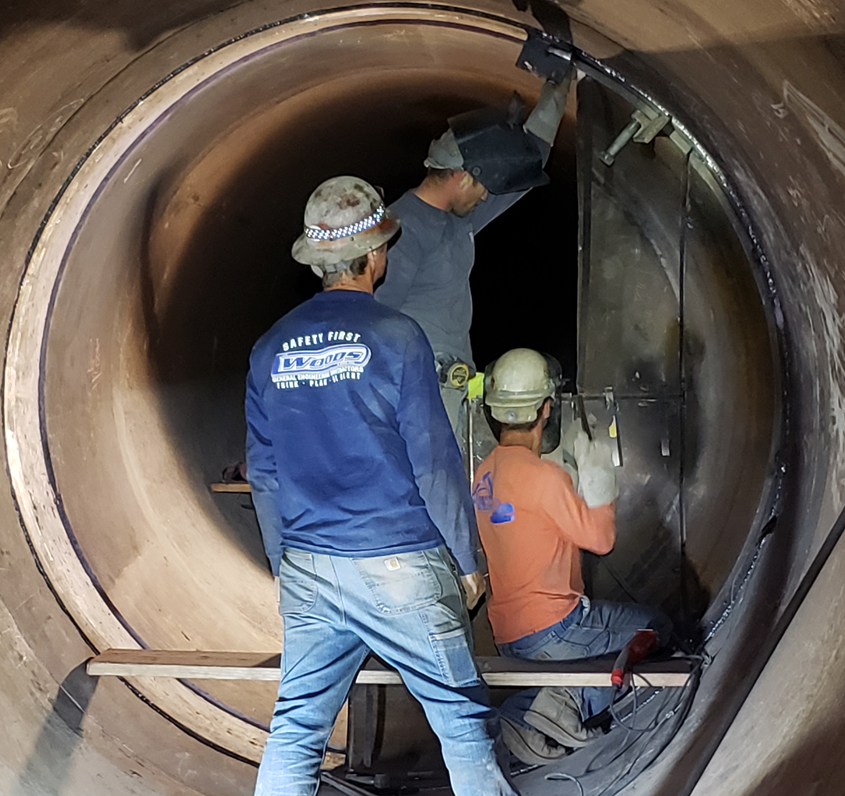 Water Authority Operations and Maintenance workers made repairs to a leaky pipeline valve. Photo: Water Authority