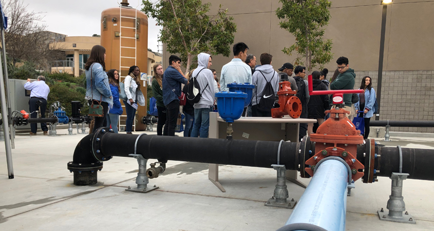 Women In Water symposium participants get a close look at the Cuyamaca College water and wastewater program training facility. Photo: Cuyamaca College
