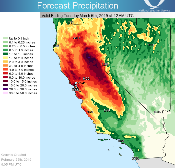 As a result of the atmospheric river weather phenomenon, California has experienced higher than average rainfall in water year 2019. Graphic: National Weather Service