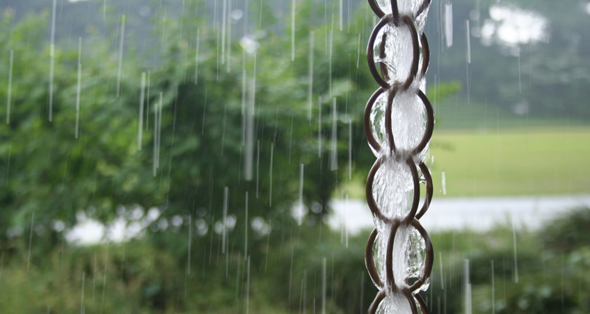 Using devices like this rain chain can help you slow and store rainfall for later use. Photo: Contraption/Flickr-Creative Commons License