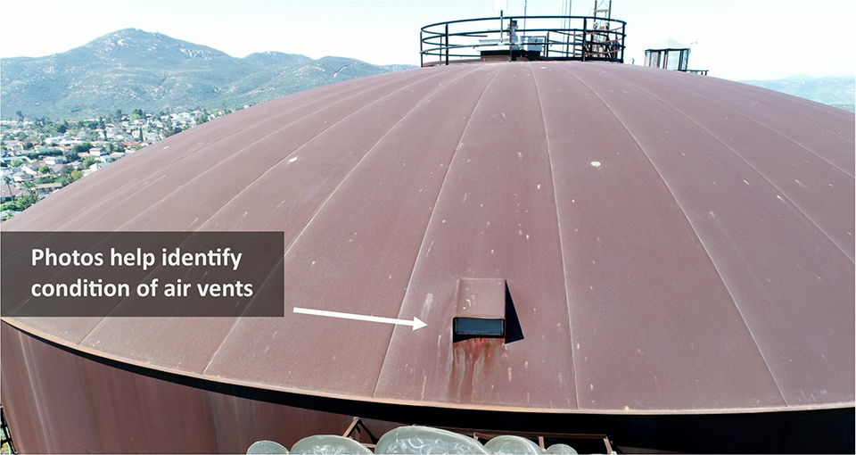 Drones provide a safe and cost-effective alternative for inspecting the condition of storage tank vents without placing employees at risk or taking the storage tank offline. Photo: Helix Water District