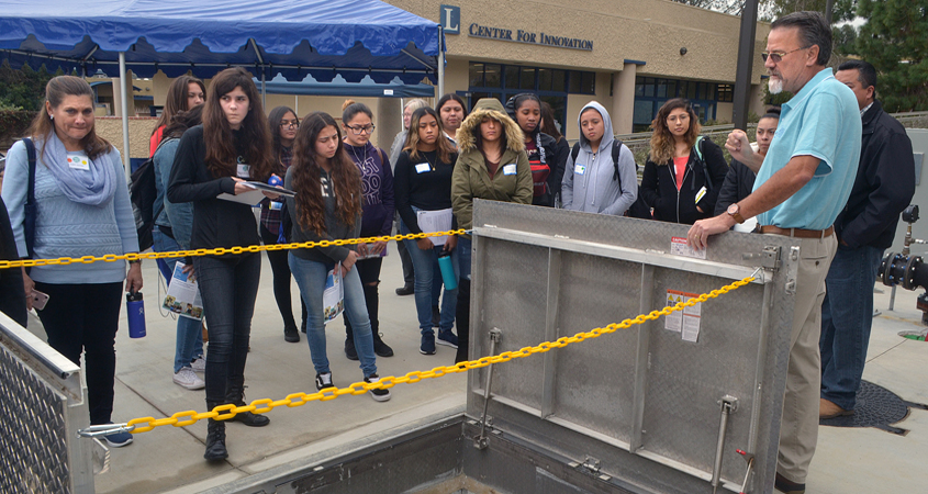 Prospective students tour the Cuyamaca College Water and Wastewater Technology lab facilities during a recent open house. Photo: Water Authority