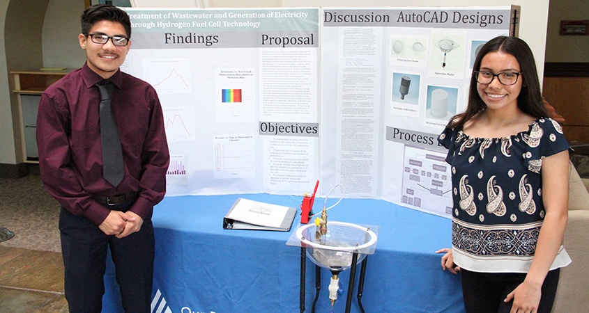 Alfred and Audrey Vargas combined their passion for science and engineering with an awareness of water issues to design a device that treats wastewater and generates electricity. Photo: Water Authority