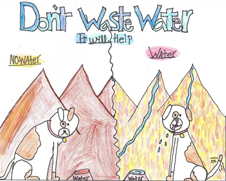 The poster that received third-place honors was created by Delaney Owens and portrays a side-by-side comparison of a world with water and a world without. Photo: OMWD