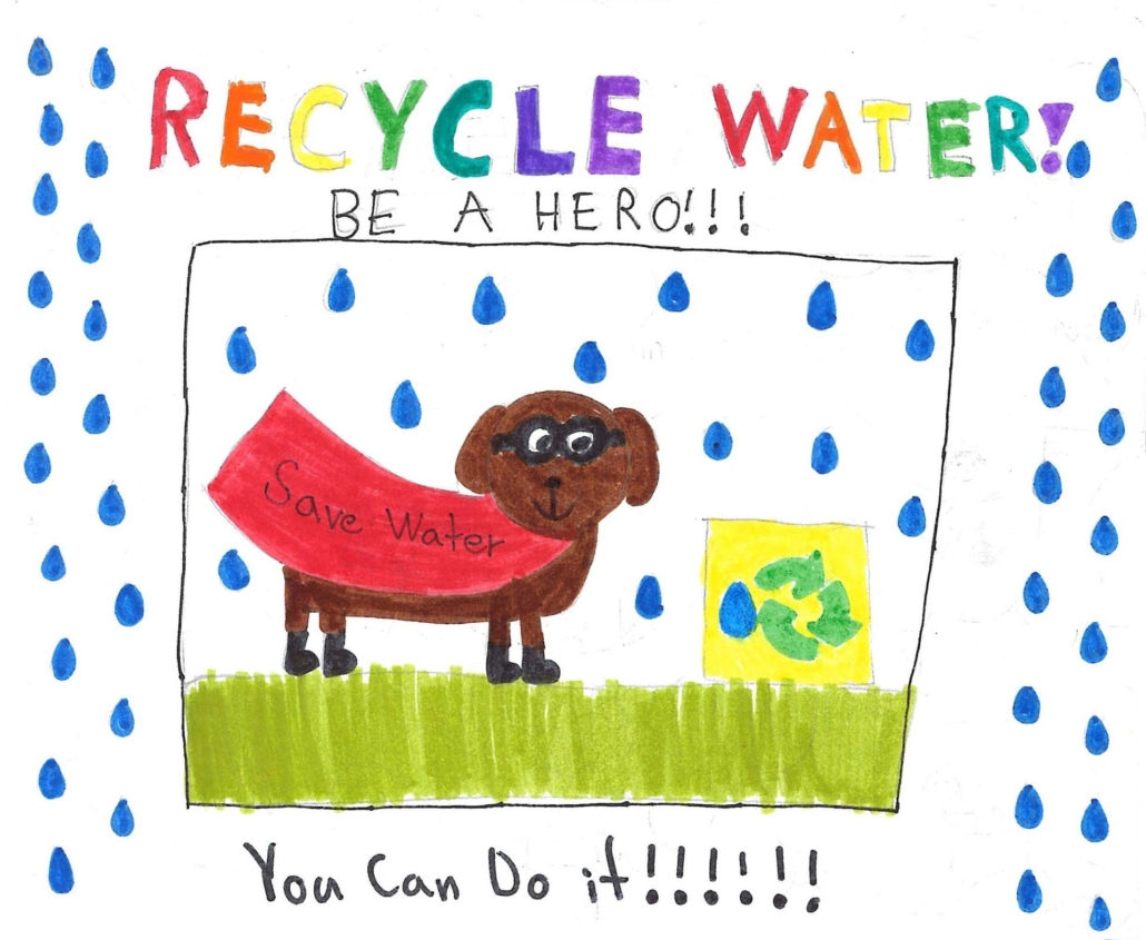 Sayla Egger's first-place poster features a superhero pup and encourages people to conserve water by recycling it. Photo: OMWD