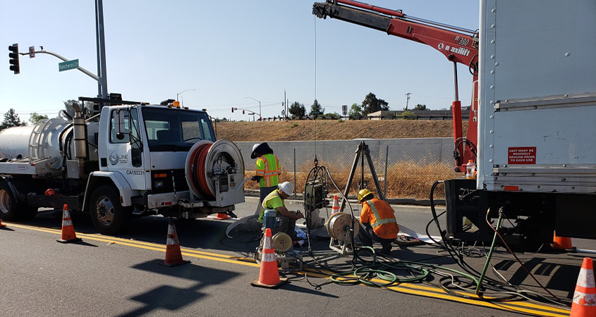 Trenchless technology allows the Vallecitor Water District to effect repairs without digging up streets. Photo: Vallecitos Water District