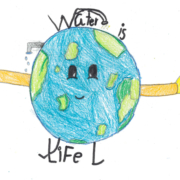 "The youngest top winner of the Sweetwater Authority ""Water Is Life"" poster contest is Christian Chavez, grade 2, El Toyon Elementary School."