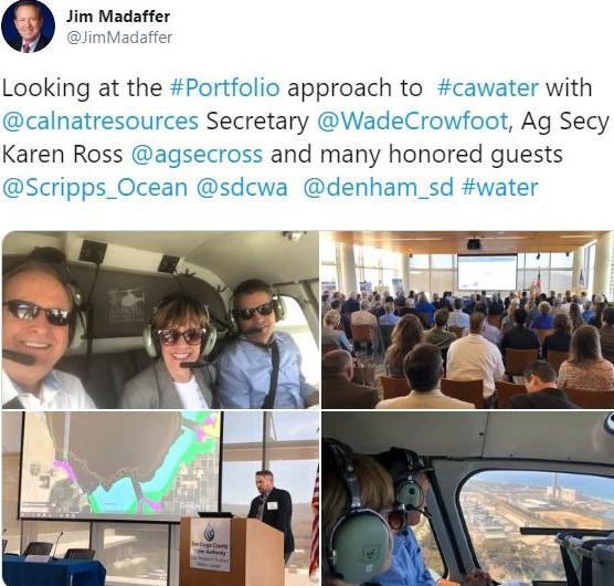Jim Madaffer tweet on water portfolio tour July 2019