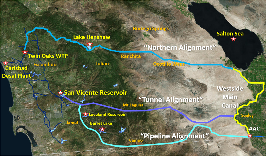 Graphic shows three proposed regional pipeline routes to deliver Colorado River Water