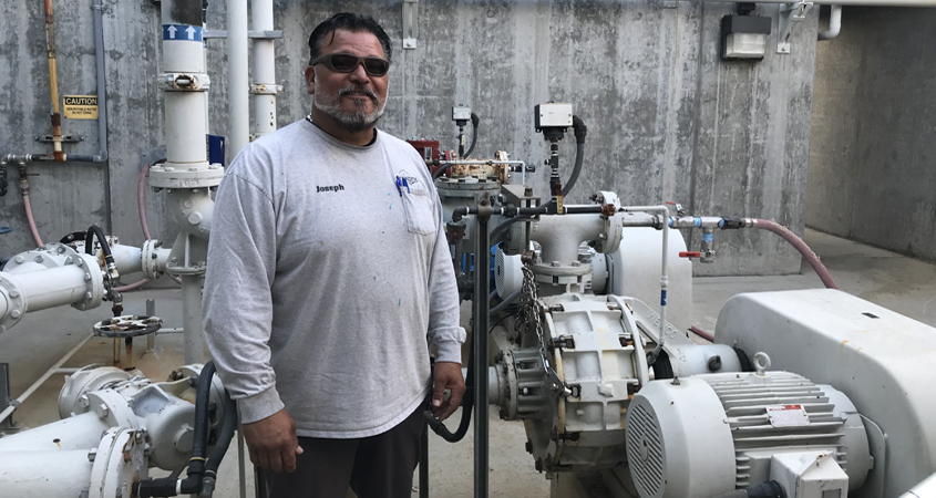 Escondido Plant Maintenance Technician Joseph Lucero won third place in the 2019 California Water Environmental Association Awards for his safety device.