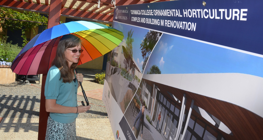 A banner depicts a rendering of the new Ornamental Horticulture complex when completed in 2022. Photo: Cuyamaca College