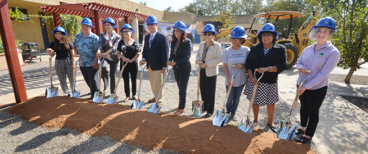 Cuyamaca College President Julianna Barnes (sixth from left) leads the official groundbreaking for the college's Ornamental Horticulture renovation project on August 22. Photo: Cuyamaca College