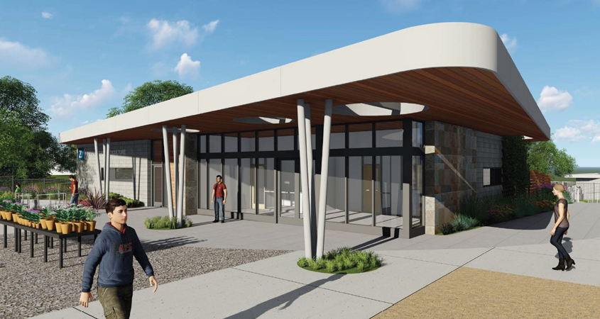A rendering of the Ornamental Horticulture program's new Building M, where classrooms and new lab faculties will be housed. Courtesy Cuyamaca College