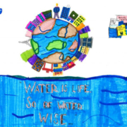 Third grader Jeeanna Mendoza fro, Camarena Elementary School, won first place in the Otay Water District student poster contest in the K-3 category. Photo: Otay Water District