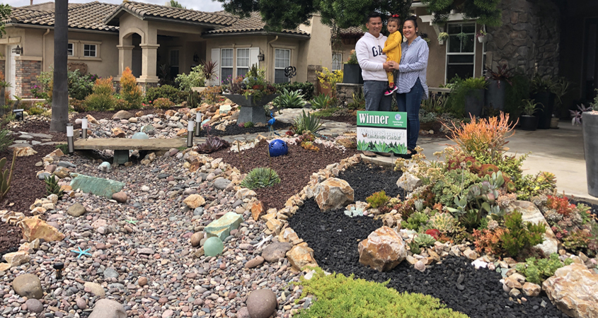 The Nieves family of Bonita are the winners of the Sweetwater Authority's 2019 Landscape Makeover Contest for theier creative WaterSmart landscaping design. Photo: Sweetwater Authority Creative WaterSmart Landscaping