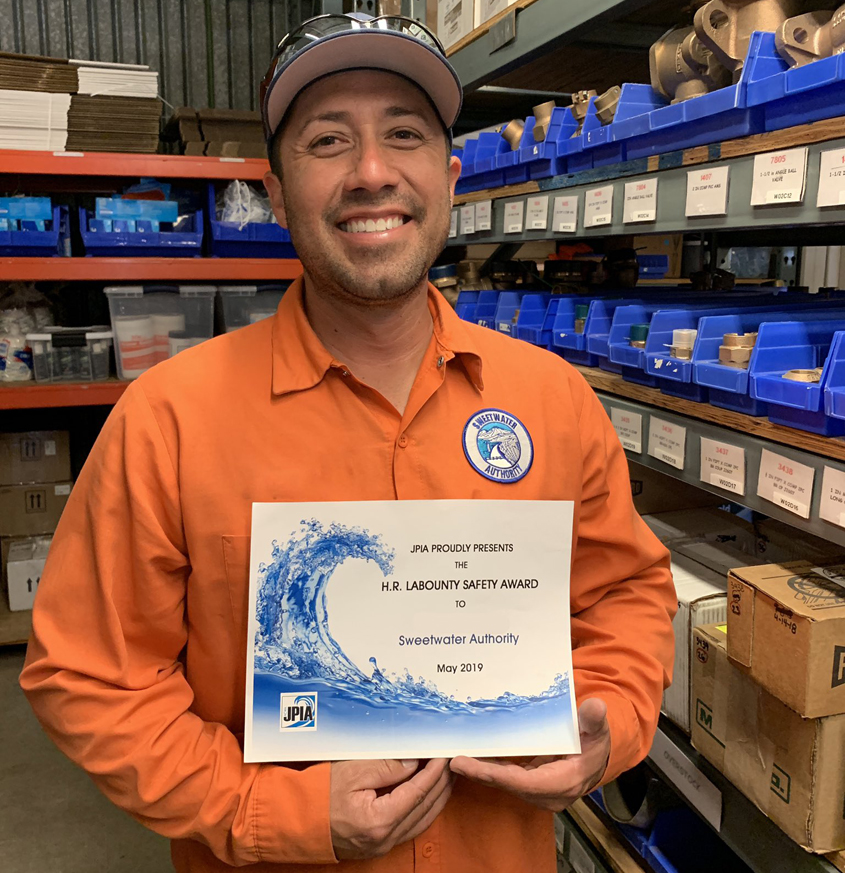 Sweetwater Authority Utility Worker II Julio Salazar displays his H.R. LaBounty Safety Award Sweetwater Authority employeerecognition certificate from the Association of California Water Agencies. Photo: Sweetwater Authority