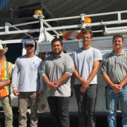 (L to R) Helix WD employees John Wilson, Eric Hughes, Dan Baker and Bryan Watte, and Padre Dam MWD workers Jesse Knowles and Austin Darley. Photo: Helix Water District Paradise Irrigation District