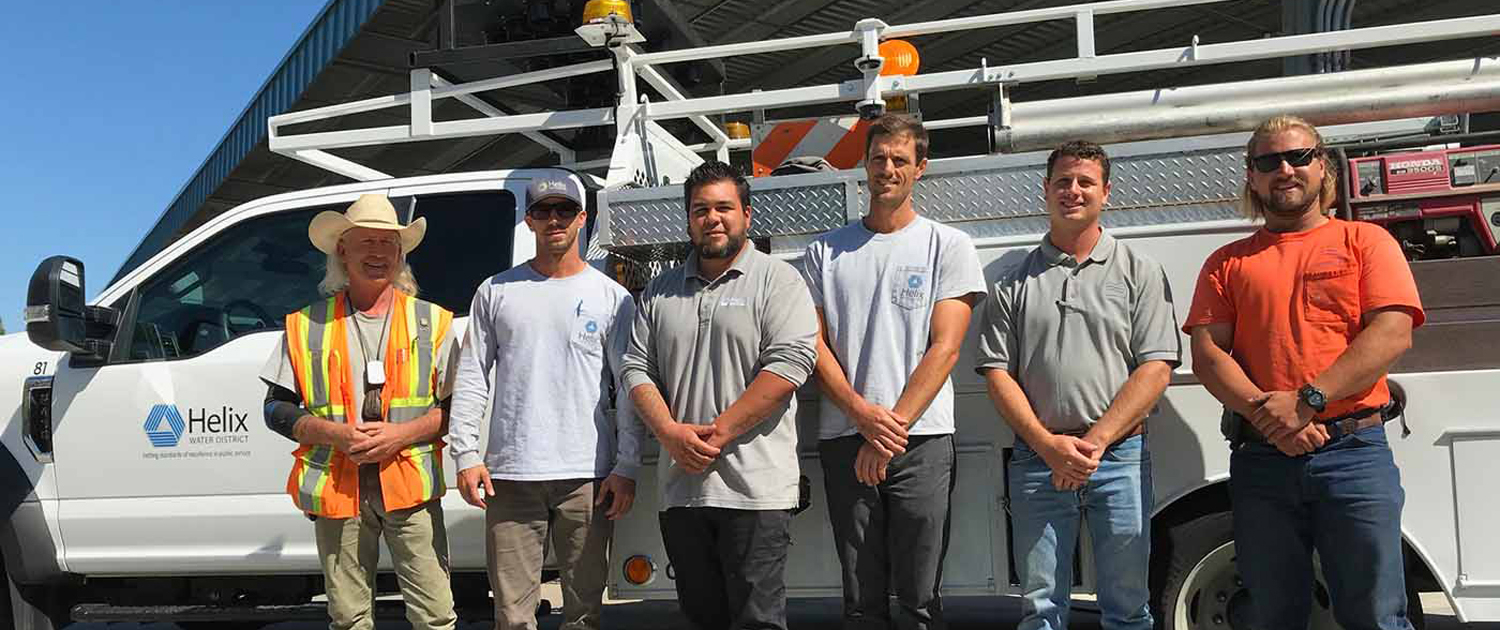 (L to R) Helix WD employees John Wilson, Eric Hughes, Dan Baker and Bryan Watte, and Padre Dam MWD workers Jesse Knowles and Austin Darley. Photo: Helix Water District