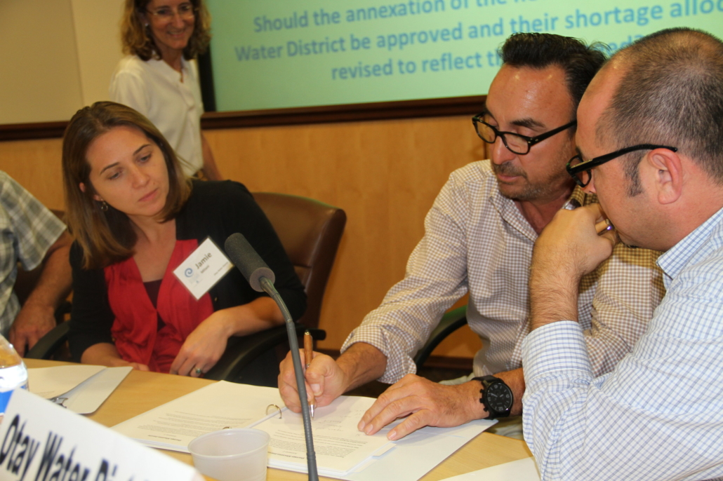 Mark Gracyk (center) participates in a role playing exercise during the Winter 2016 Citizens Water Academy. Photo: Water Authority Water Academy Applications