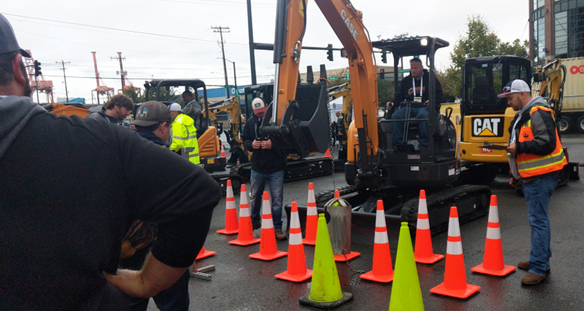 Bobby Bond Jr. works the mini-excavator during competition at the 2019 American Public Works Assoiation (APWA) National Skills ROADEO. Photo: Courtesy Natassia Bond
