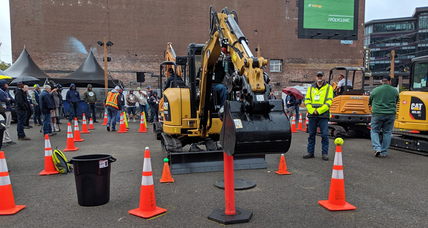 Bobby Bond Jr. navigates the competition tasks with the mini-excavator at the 2019 American Public Works Assoiation (APWA) National Skills ROADEO. Photo: Courtesy Natassia Bond