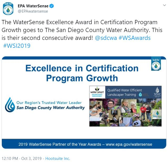 Water Authority Wins 2019 EPA WaterSense Excellence Award