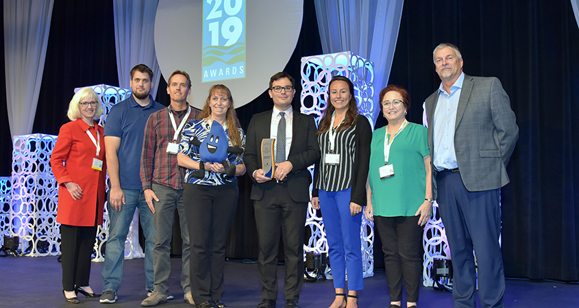 San Diego County Water Authority Water Resources Specialist Efren Lopez accepted 2019 EPA WaterSense Excellence Award in Certification Program Growth.