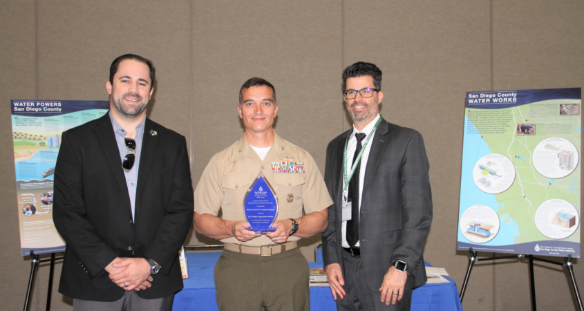Marine Corps Air Station Miramar embarked on a water conservation program about a decade ago and, through a $6 million investment, decreased its potable water use by more than 40% since 2007. (Left to right: Mick Wasco, MCAS Miramar Utilities & Energy Management Branch Head; MCAS Miramar Commanding Officer Charles B. Dockery; Gary Bousquet, Water Authority Deputy Director of Engineering). Photo: Water Authority