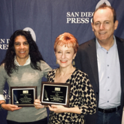 Members of the Water Authority at the San Diego Press Club Journalism Awards (L to R): Denise Vedder, Litsa Tzotzolis, Gayle Falkenthal, Ed Joyce, Kristiene Gong. Photo: Water Authority