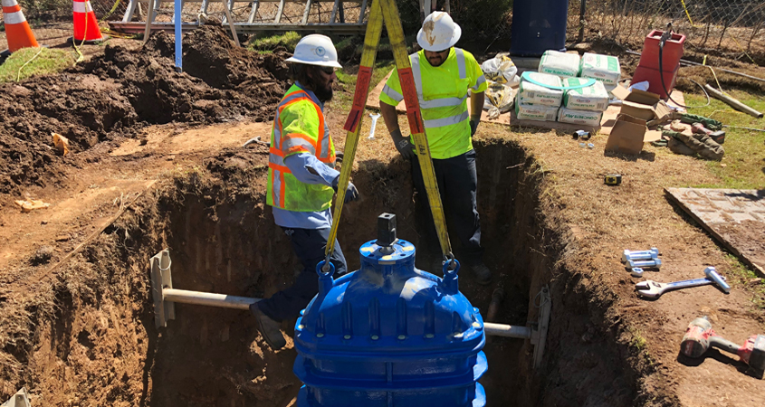 Vallecitos Water District maintenance professionals perform a valve replacement project featured in the district's latest Work We Do video. Photo: Vallecitos Water District