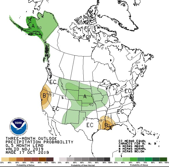 The November-December-January precipitation outlook from the National Weather Service.